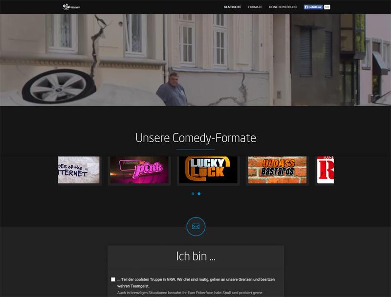 Wir können auch lustig! Landingpage für Comedy-Bewerber