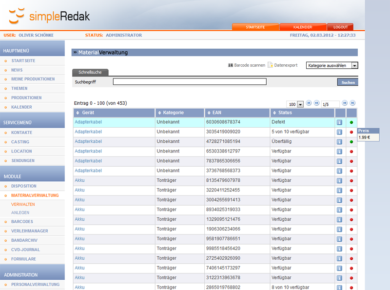 Modul: Materialverwaltung inkl. Barcodes und Verleih